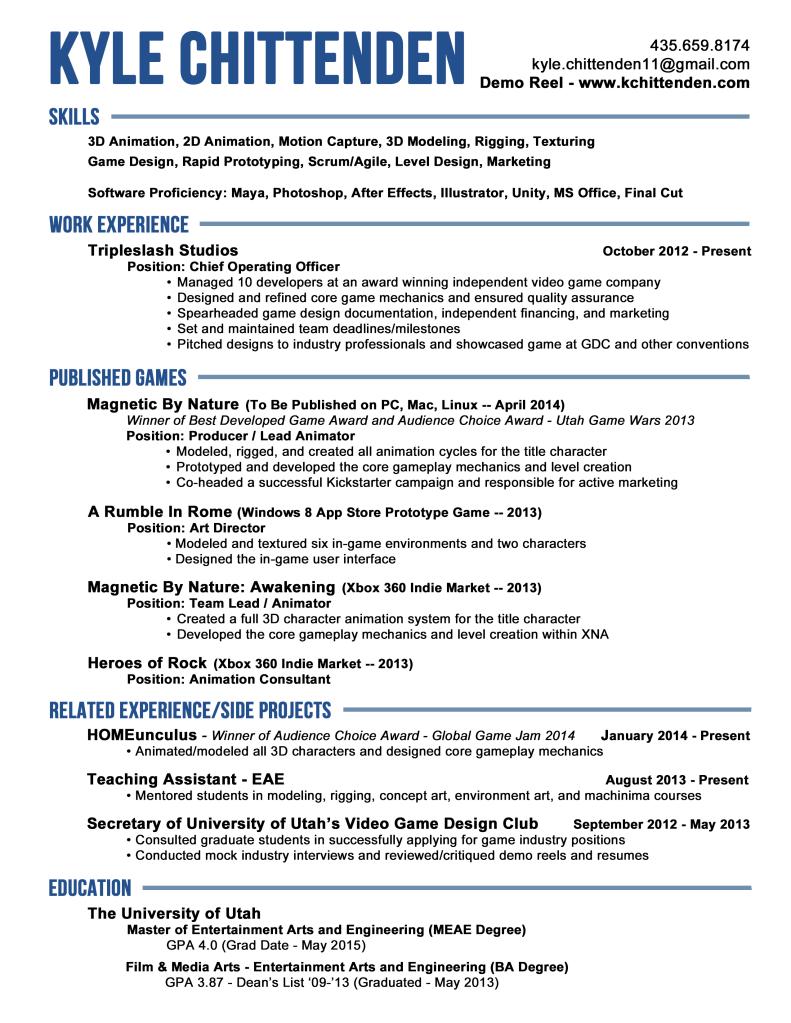 animation resume job description